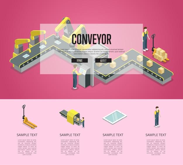 Illustration isométrique de convoyeur à bande mécanique infographique