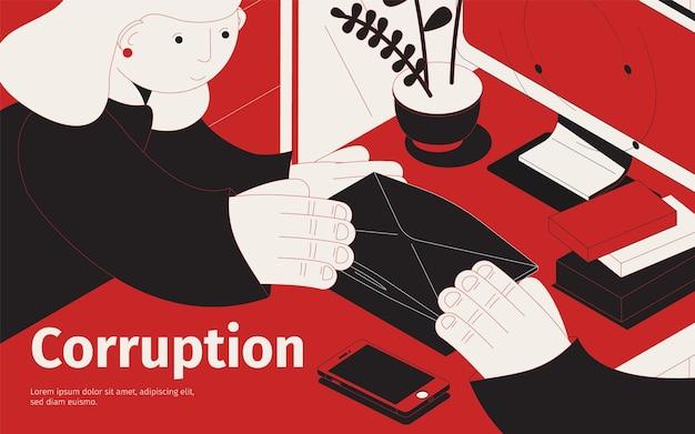 Illustration isométrique de la corruption
