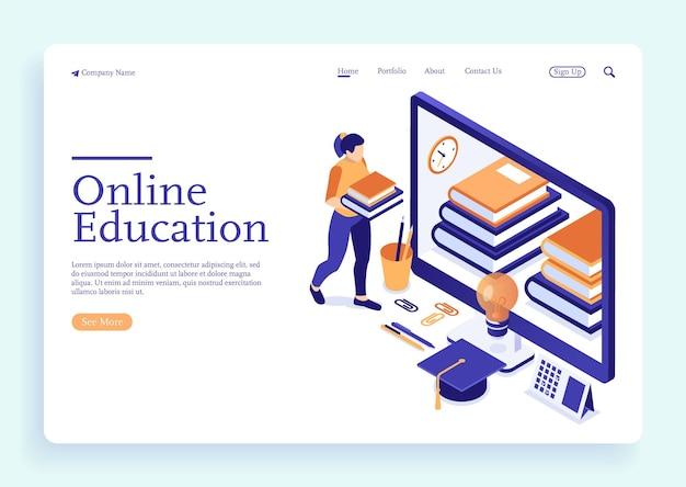 Illustration isométrique des cours en ligne fille avec des livres apprenant le concept isométrique de l'éducation en ligne