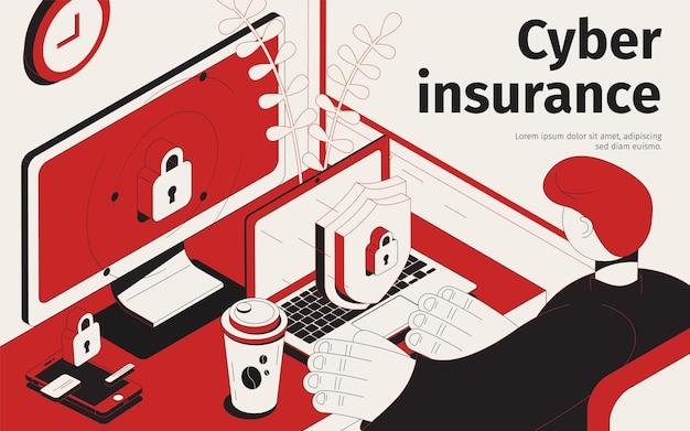 Illustration isométrique de cyberassurance