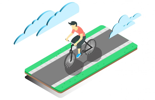 Illustration isométrique cyclisme