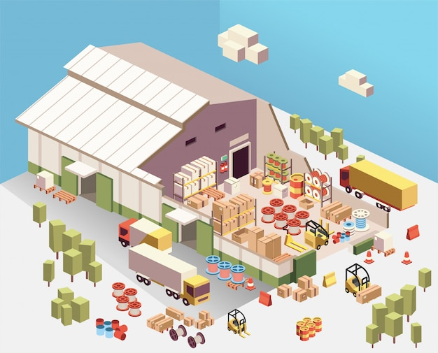 Illustration isométrique de découpe industrielle entrepôt à l'intérieur, avec camion, boîte, baril, dévidoir, chariot élévateur