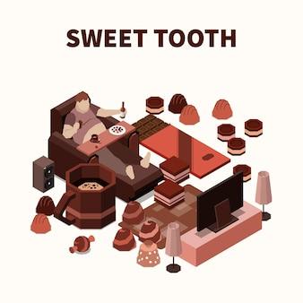 Illustration isométrique de la dent sucrée