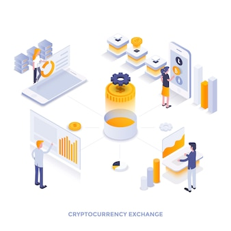 Illustration isométrique de design plat moderne de l'échange de crypto-monnaie. peut être utilisé pour le site web et le site web mobile ou la page de destination. facile à modifier et à personnaliser. illustration vectorielle