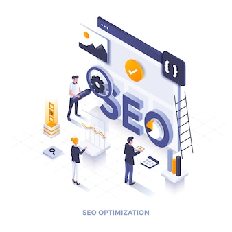 Illustration isométrique de design plat moderne de l'optimisation seo