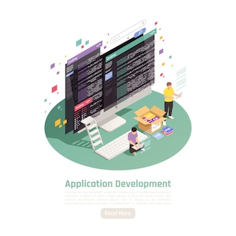 Illustration isométrique de développement d'applications
