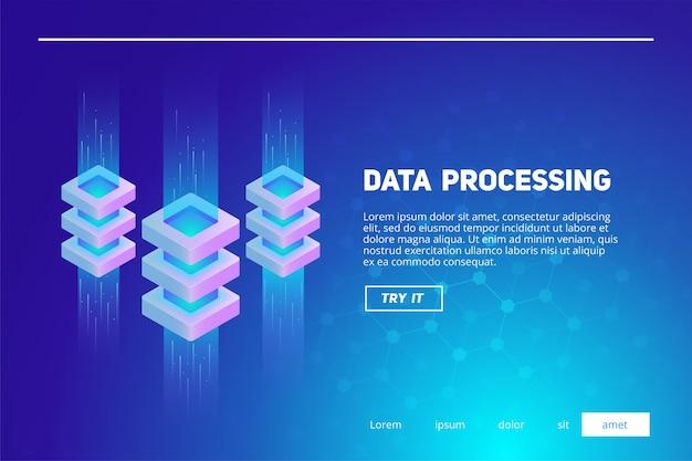 Illustration isométrique de données volumineuses