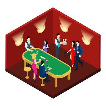 Illustration isométrique du casino et des cartes