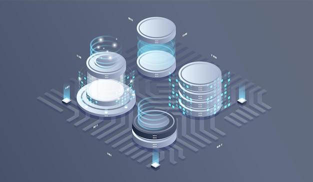 Illustration isométrique du centre de données.