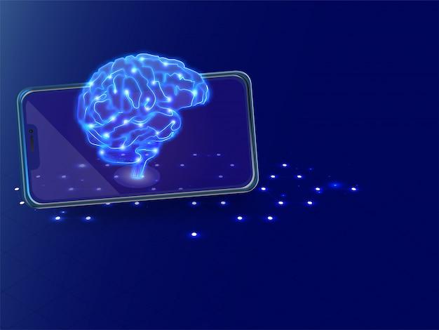 Illustration isométrique du cerveau humain avec connexion numérique