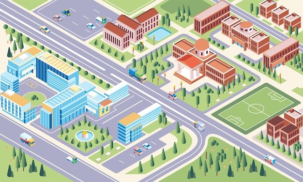 Illustration isométrique du complexe de l'environnement universitaire du campus et du jardin du campus en tant qu'espace vert