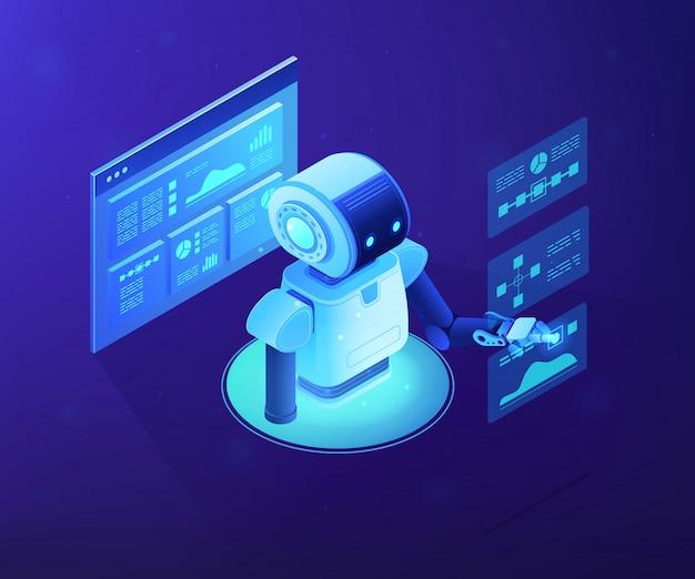 Illustration isométrique du concept d'analyse de données automatisée.