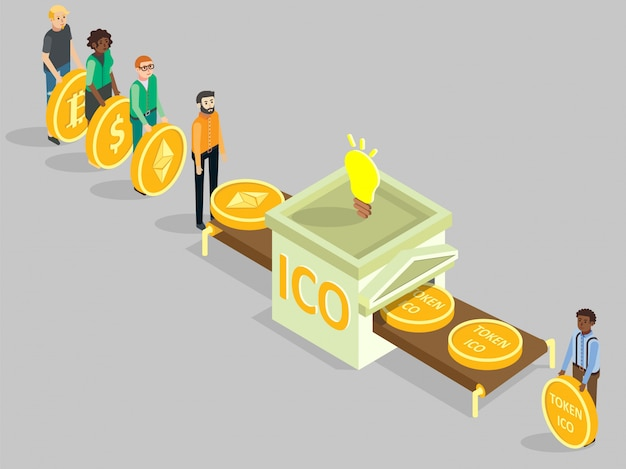 Illustration isométrique du concept ico vector