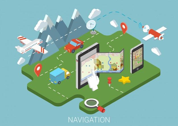 Illustration isométrique du concept de navigation gps mobile. smartphone tablette avec des marqueurs de broches de route de papier de carte numérique.