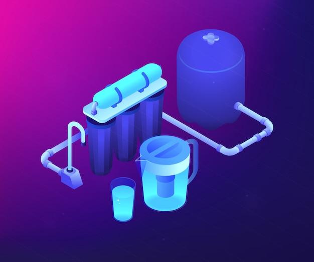 Illustration isométrique du concept de système de filtrage de l'eau.