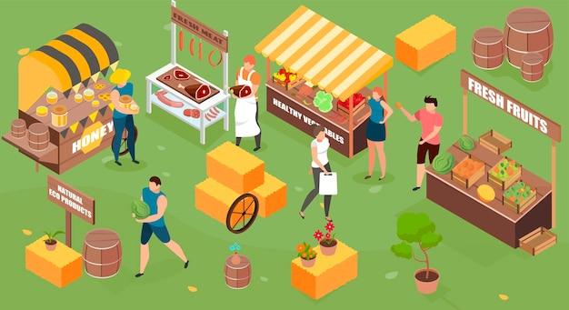 Illustration isométrique du marché agricole