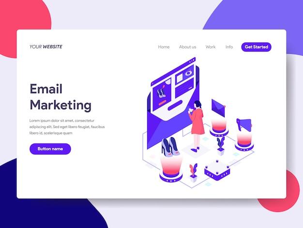 Illustration isométrique du marketing par courriel