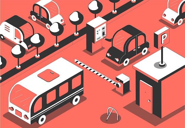 Illustration isométrique du paiement de l'entrée du parking