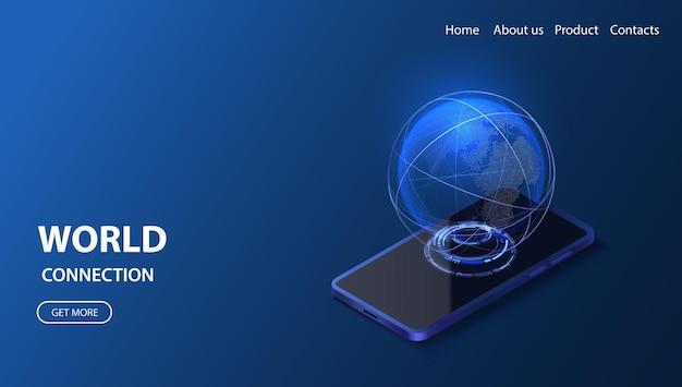 Illustration isométrique du réseau mondial de smartphone technologie numérique 3d globe service de données de connexion