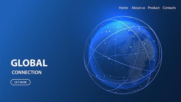 Illustration isométrique du réseau mondial technologie numérique 3d globe service de données de connexion