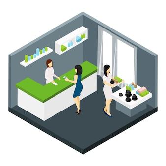 Illustration isométrique du salon de spa