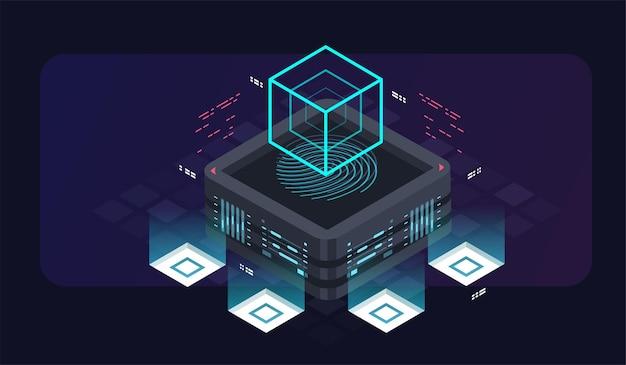 Illustration isométrique du serveur d'hébergement service numérique ou application avec données