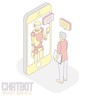 Illustration isométrique du service chatbot