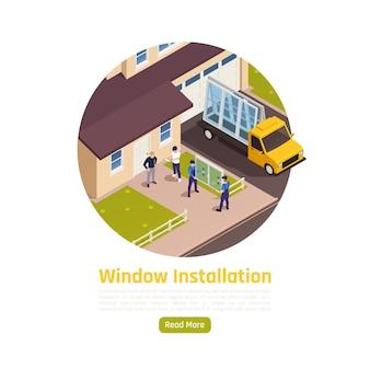 Illustration isométrique du service de livraison d'installation de remplacement de fenêtres en verre pvc