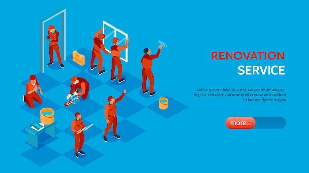 Illustration isométrique du service de réparation à domicile