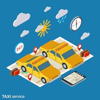 Illustration isométrique du service de taxi