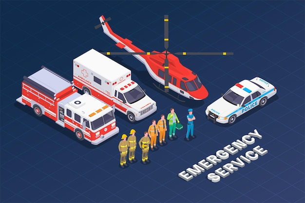 Illustration isométrique du service d'urgence