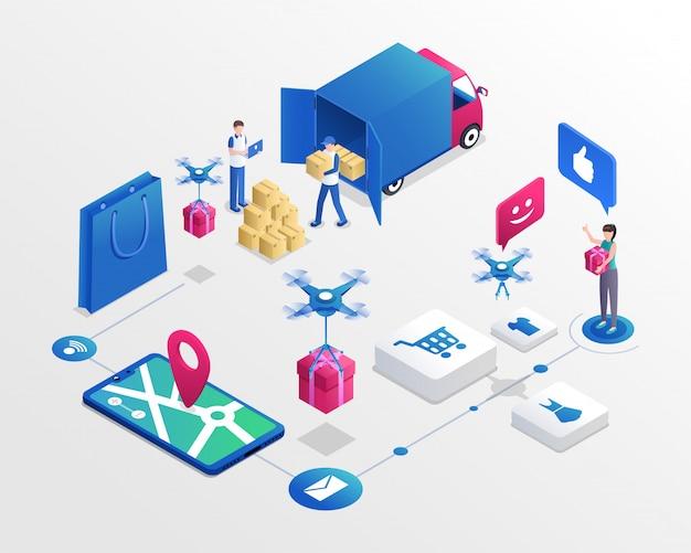 Illustration isométrique du système de magasinage en ligne. travailleurs des services de livraison et client satisfait