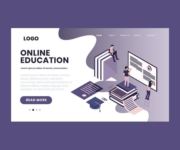 Illustration isométrique de l'éducation en ligne