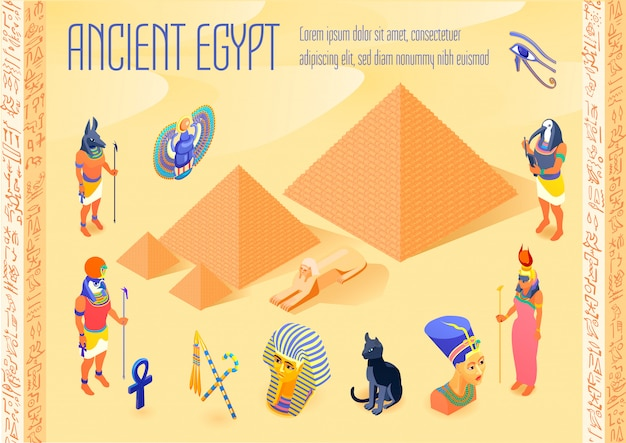 Illustration isométrique de l'egypte