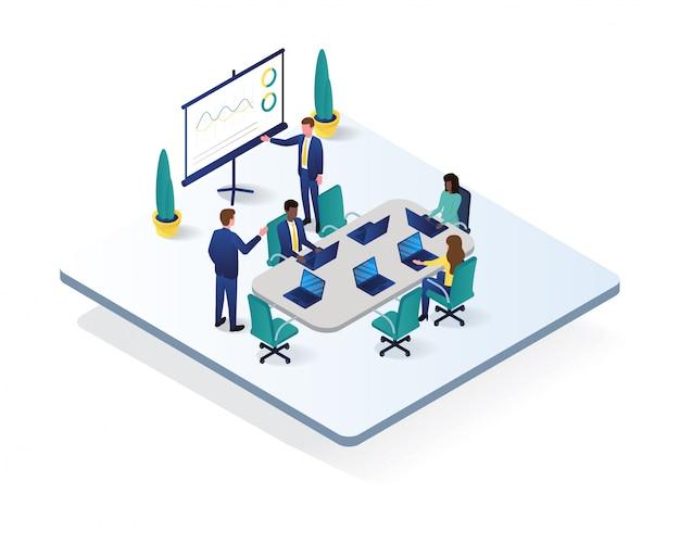 Illustration isométrique de l'espace de travail de bureau