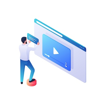 Illustration isométrique de l'examen du contenu vidéo web. le personnage masculin associe une description et un scénario au nouveau clip vidéo. revues en ligne modernes et influence du public sur le concept de vues.