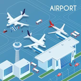 Illustration isométrique extérieure de l'aéroport