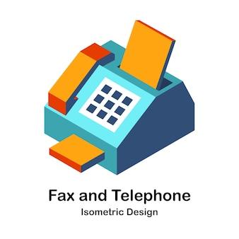 Illustration isométrique de fax et de téléphone