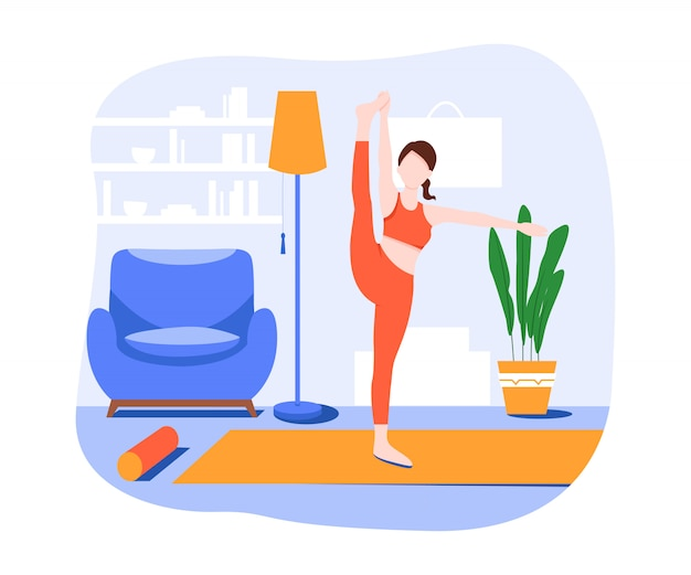 Illustration isométrique d'une fille de yoga en forme dans une pose de danseuse entourée de plantes dans son appartement confortable.