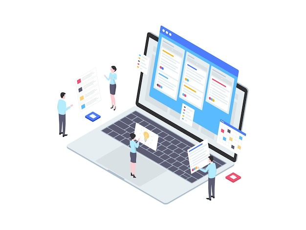 Illustration isométrique de flux de travail d'entreprise. convient pour les applications mobiles, les sites web, les bannières, les diagrammes, les infographies et autres éléments graphiques.