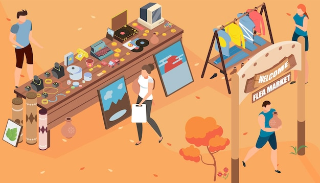Illustration isométrique de garage de marché aux puces