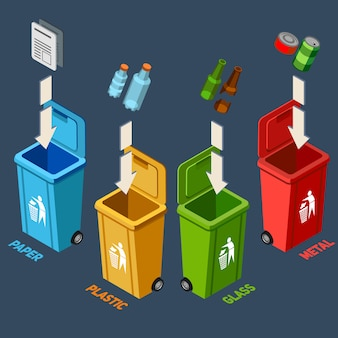 Illustration isométrique de la gestion des déchets