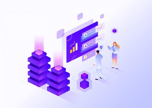 Illustration isométrique de gestion des médias numériques