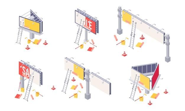 Illustration isométrique d'installation de panneau d'affichage