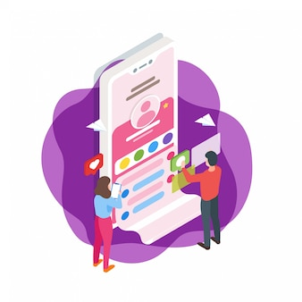 Illustration isométrique d'interface de médias sociaux