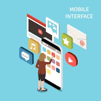 Illustration isométrique de l'interface mobile