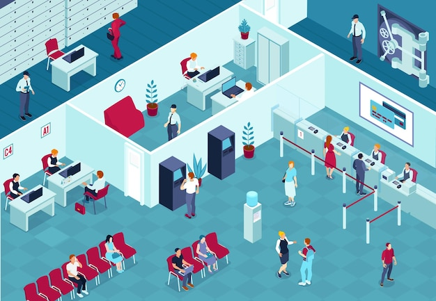 Illustration isométrique intérieure de la banque avec des gardes consultant les employés