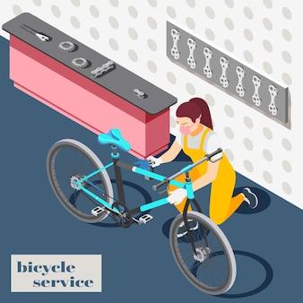 Illustration isométrique intérieure de magasin de service de maintenance de réparation de bicyclette