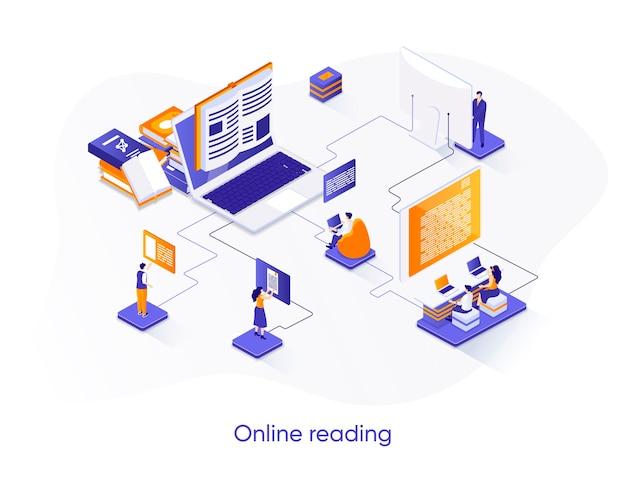 Illustration isométrique de lecture en ligne avec des personnages de personnes