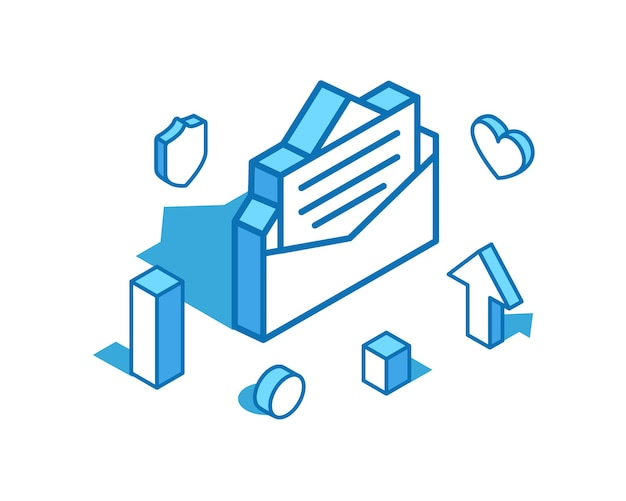 Illustration isométrique de la ligne bleue de la lettre modèle de bannière 3d de message en ligne de révision positive